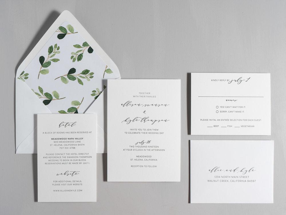 Modern Greenery V2 Letterpress Wedding Invitations by Just Jurf-1.jpg