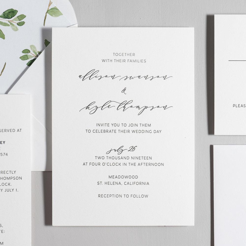 Modern Greenery V2 Letterpress Wedding Invitations by Just Jurf-2.jpg