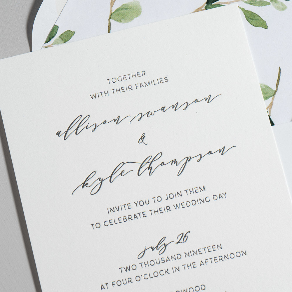 Modern Greenery V2 Letterpress Wedding Invitations by Just Jurf-8a.jpg