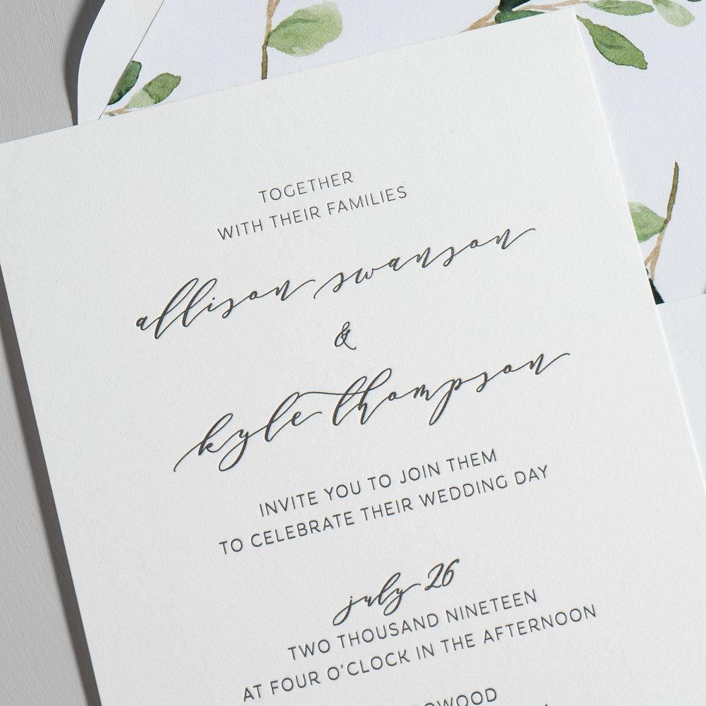 Modern Greenery V2 Letterpress Wedding Invitations by Just Jurf-8a.jpg