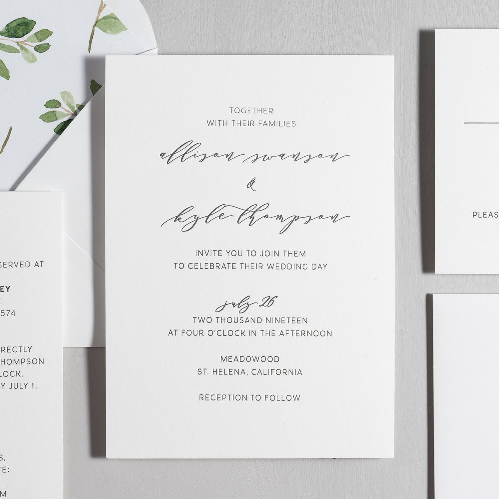 Modern Greenery V2 Letterpress Wedding Invitation