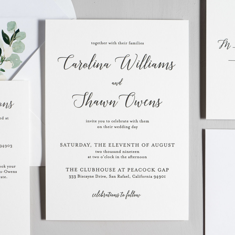 Blush Floral Calligraphy Letterpress Wedding Invitation Suite by Just Jurf