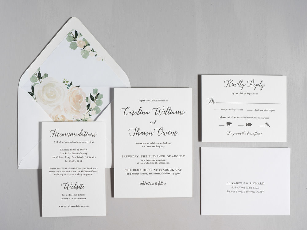 Blush Floral Calligraphy Letterpress Wedding Invitations by Just Jurf-1.jpg