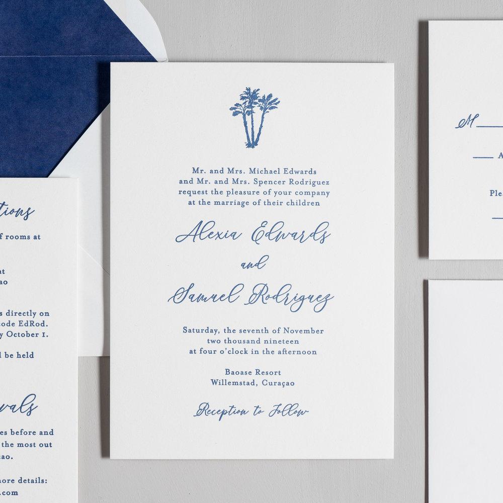 Elegant Palm Tree Letterpress Wedding Invitations by Just Jurf-2.jpg