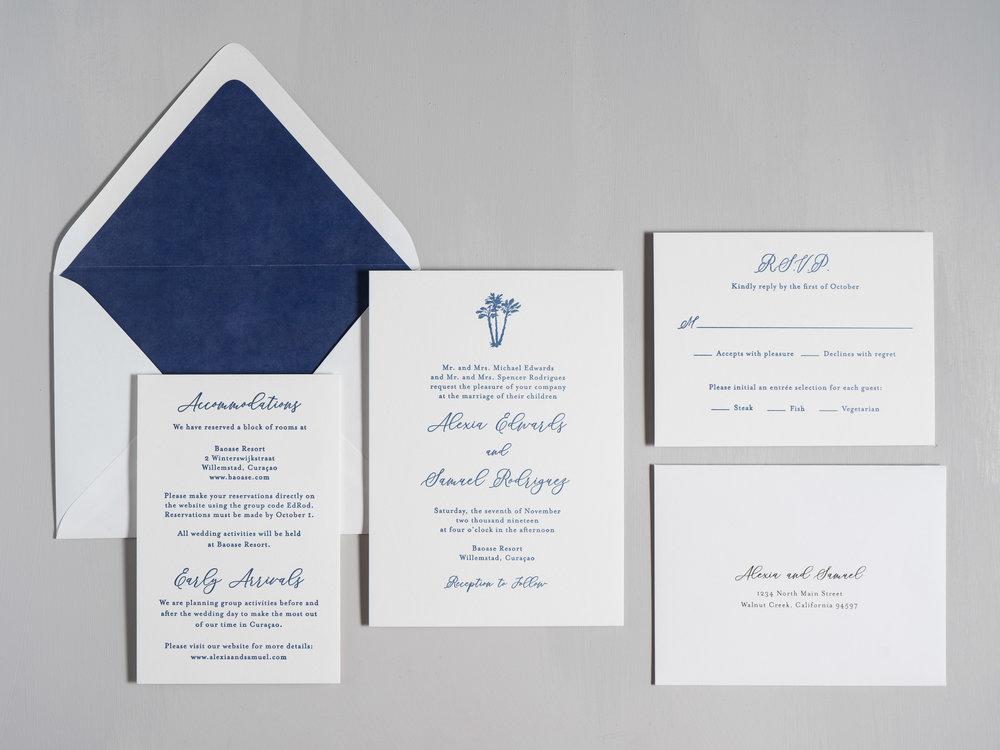 Elegant Palm Tree Letterpress Wedding Invitations by Just Jurf-1.jpg