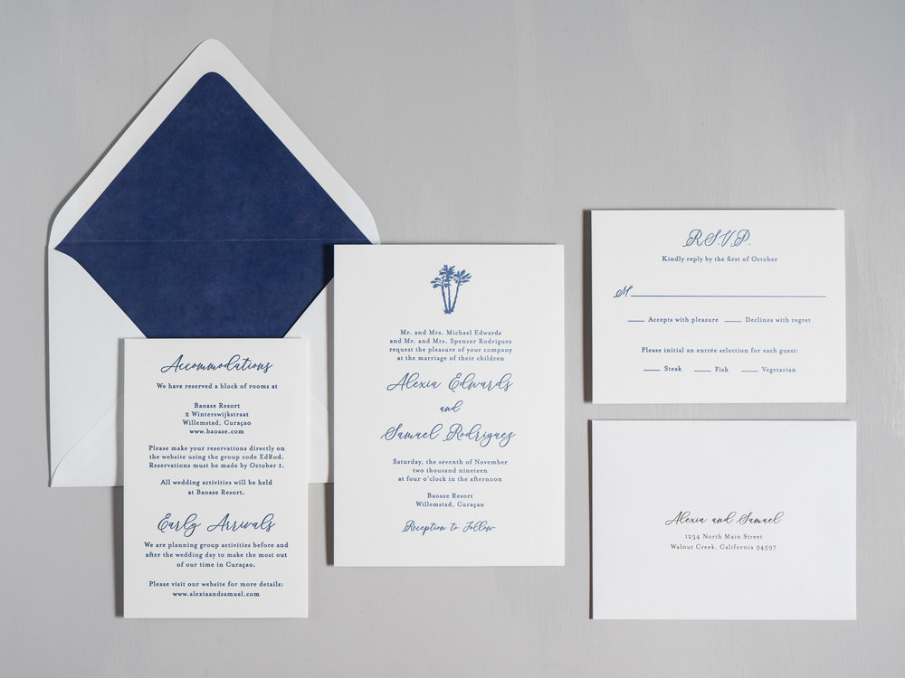Elegant Palm Tree Letterpress Wedding Invitation by Just Jurf