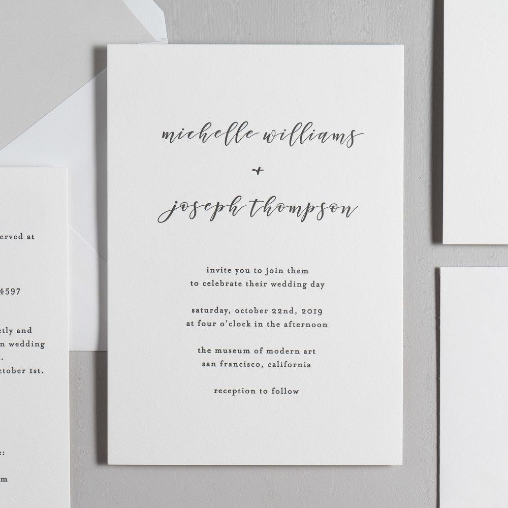 Delicate Minimalist Letterpress Wedding Invitation by Just Jurf