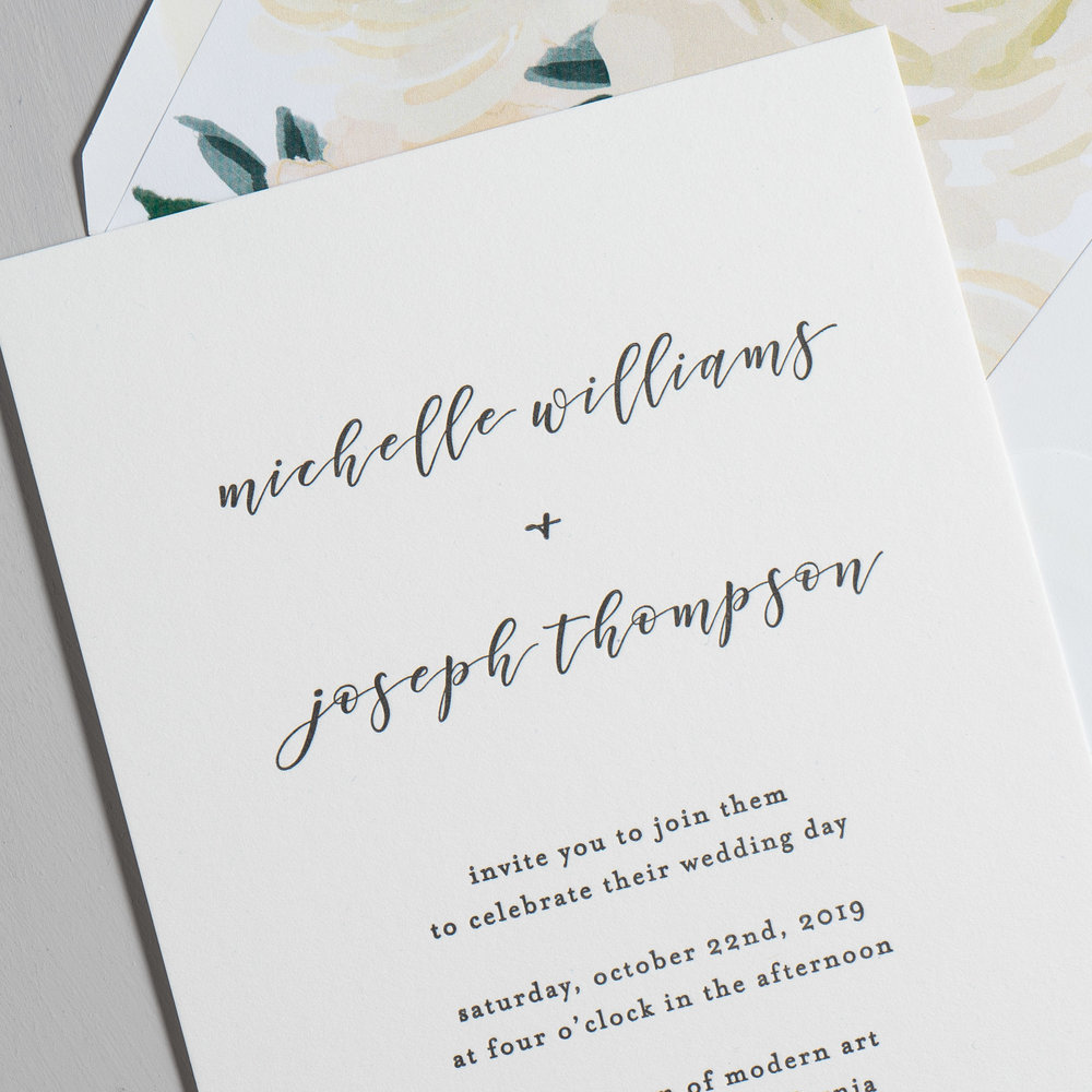 Minimalist Floral Letterpress Wedding Invitation by Just Jurf