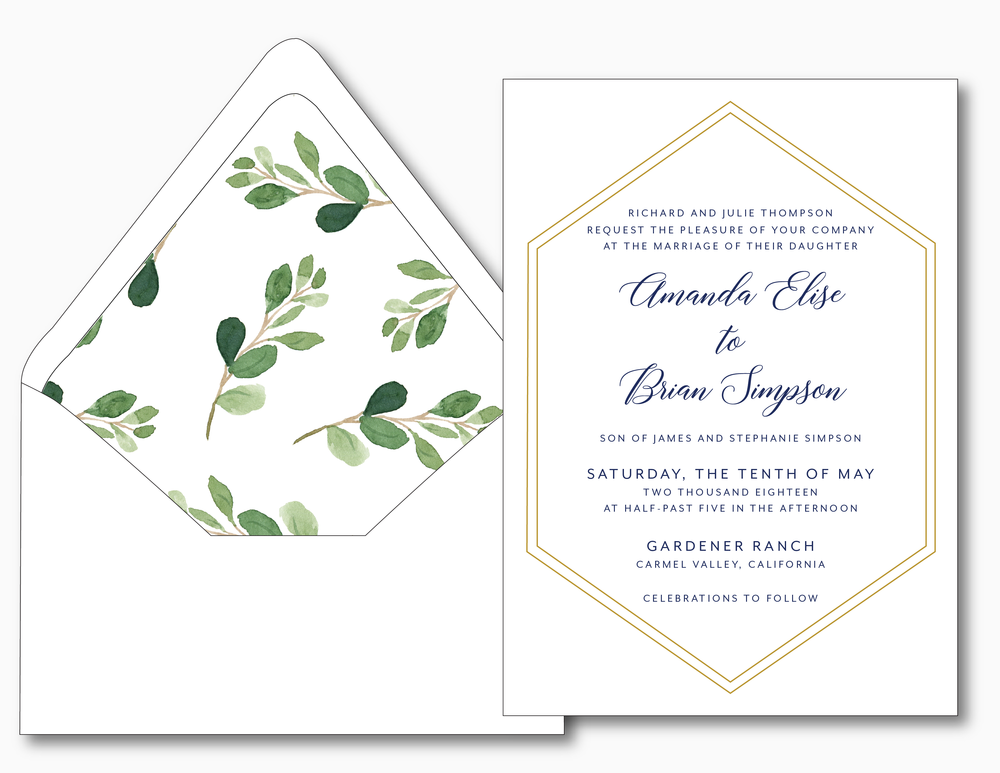 Navy, Gold and Greenery