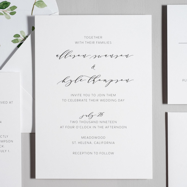 Modern Greenery Wedding Invitation Just Jurf Designs