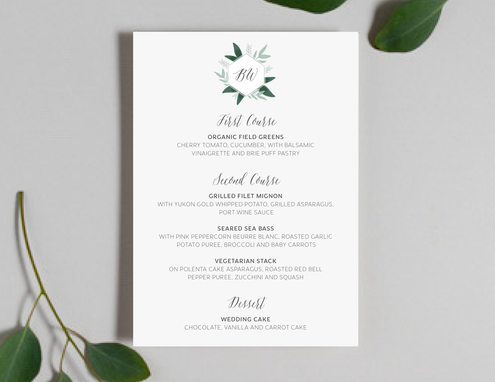 Romantic Green Leaf Monogram Menu by Just Jurf-01.png