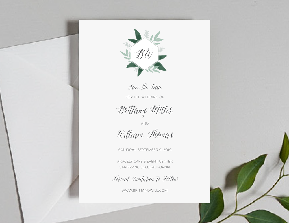 Romantic Green Leaf Monogram Save the Dates by Just Jurf-01.png