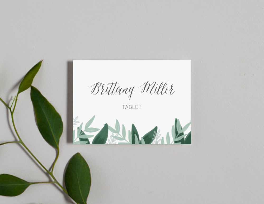 Romantic Green Leaf Monogram Place Cards by Just Jurf-01.png