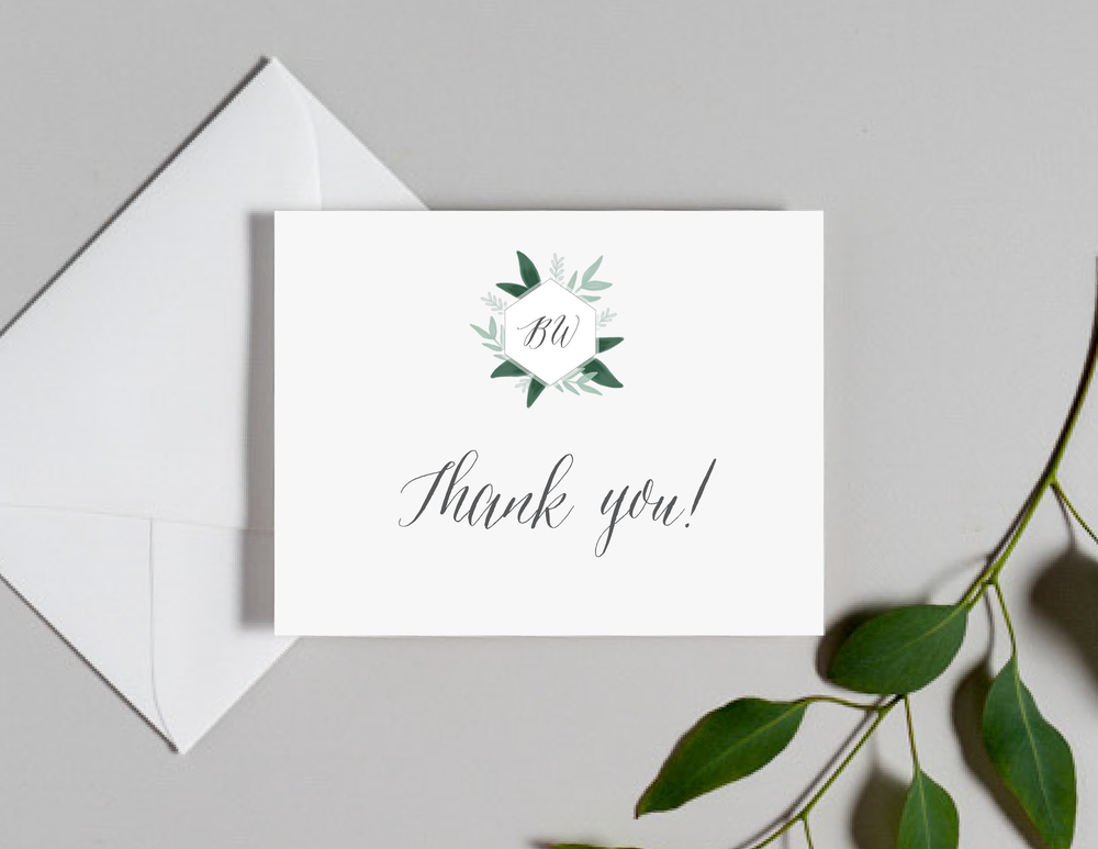 Romantic Green Leaf Monogram Thank You Cards by Just Jurf-01.png