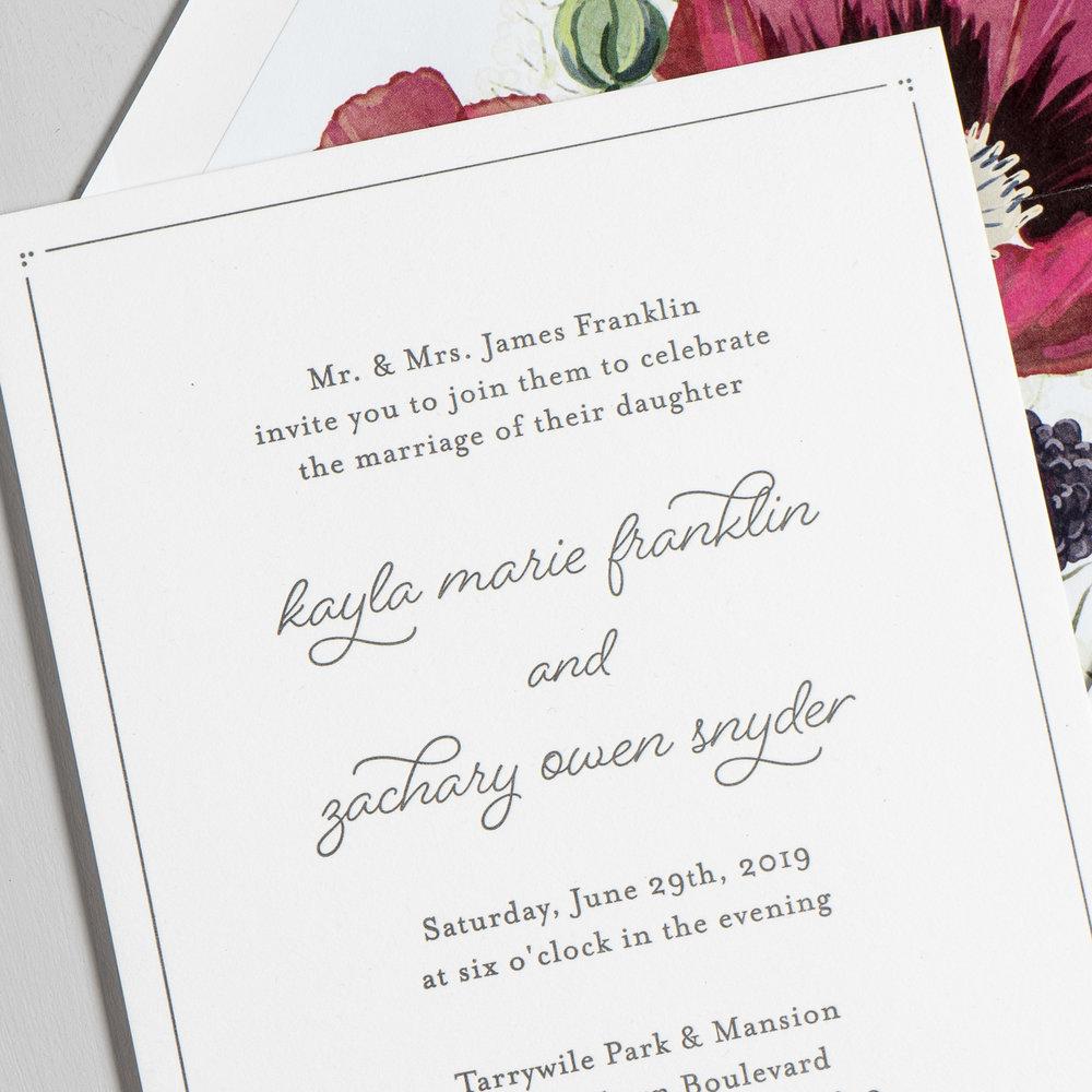 Burgundy Poppy Letterpress Wedding Invitation by Just Jurf