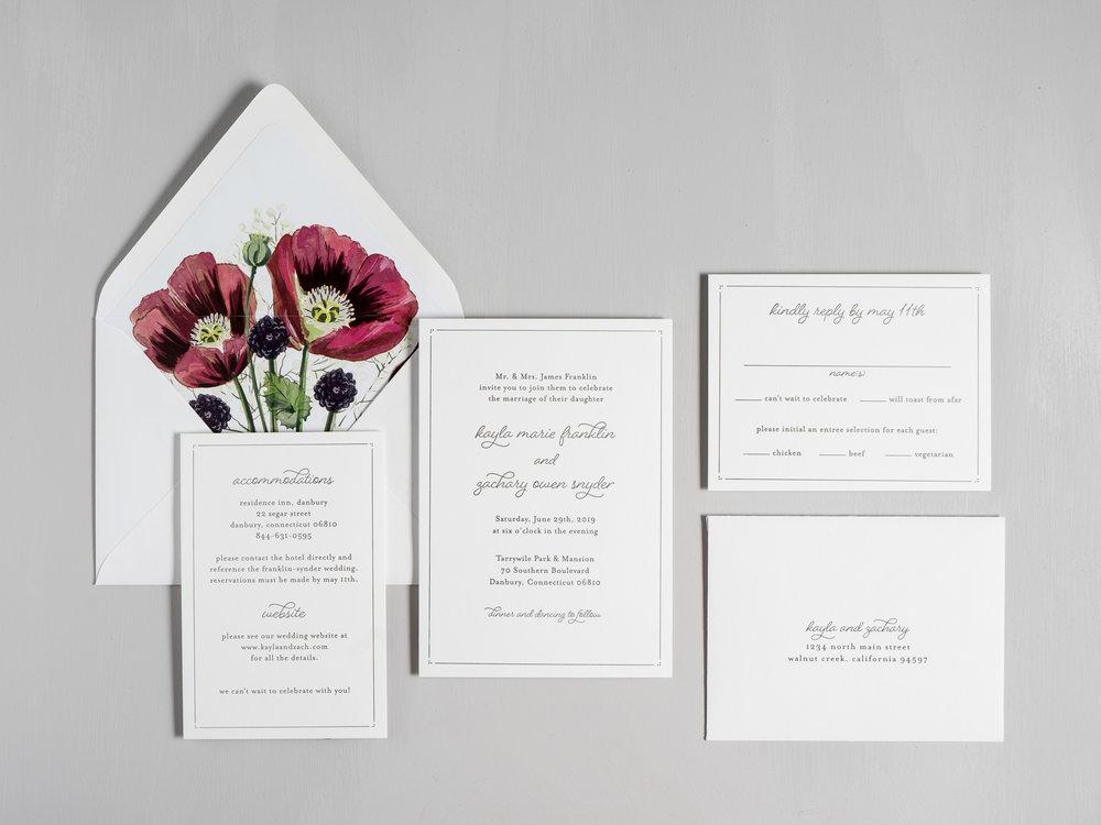 Burgundy Poppy Letterpress Wedding Invitations by Just Jurf-1.jpg