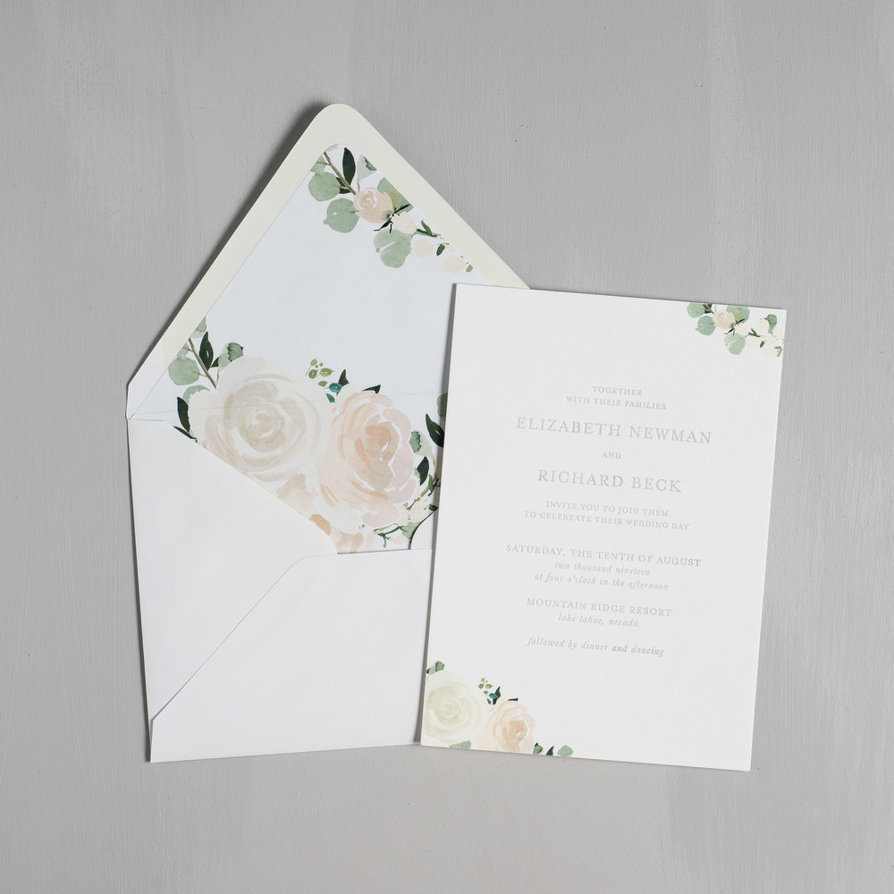 Elegant Blush Floral Letterpress Wedding Invitation by Just Jurf