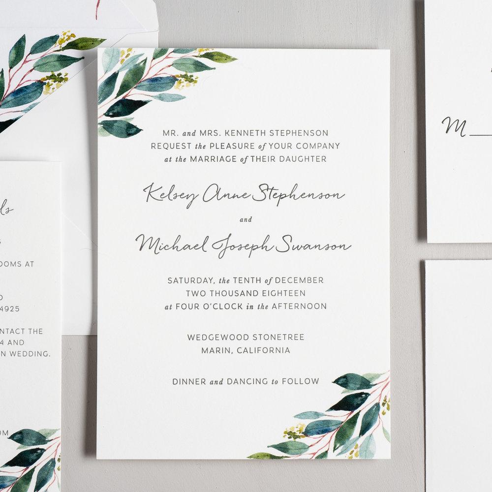 Botanical Greenery Letterpress Wedding Invitation by Just Jurf