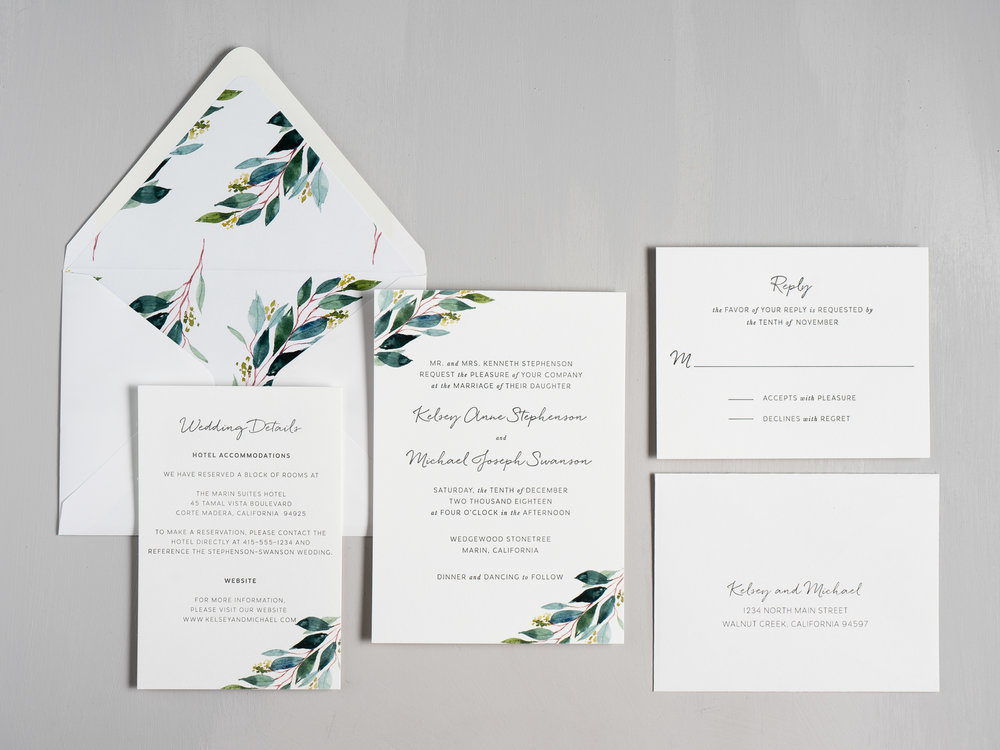 Botanical Greenery Letterpress Wedding Invitations by Just Jurf-1.jpg