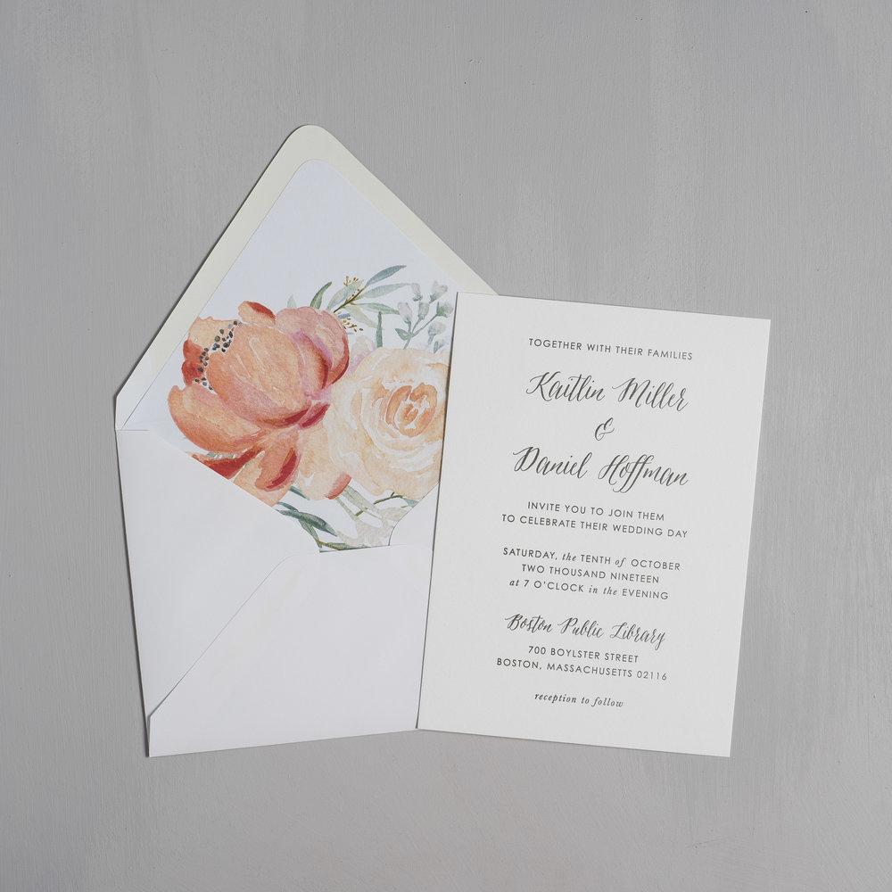 Modern Peach Watercolor Floral Letterpress Wedding Invitation by Just Jurf