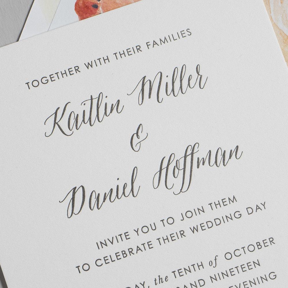 *Modern Peach Watercolor Floral Letterpress Wedding Invitations by Just Jurf-8b.jpg