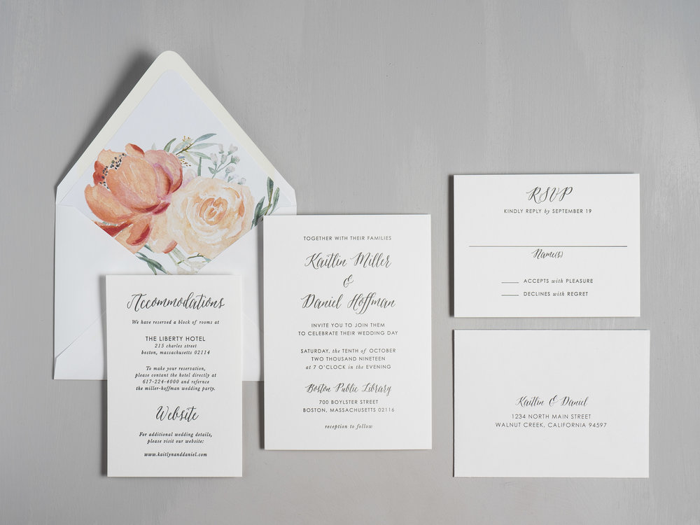 Modern Peach Watercolor Floral Letterpress Wedding Invitations by Just Jurf-1.jpg