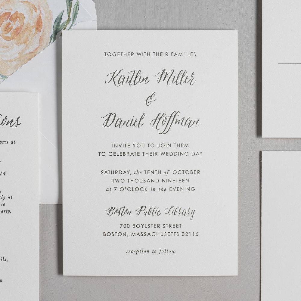 Modern Peach Watercolor Floral Letterpress Wedding Invitations by Just Jurf-2.jpg