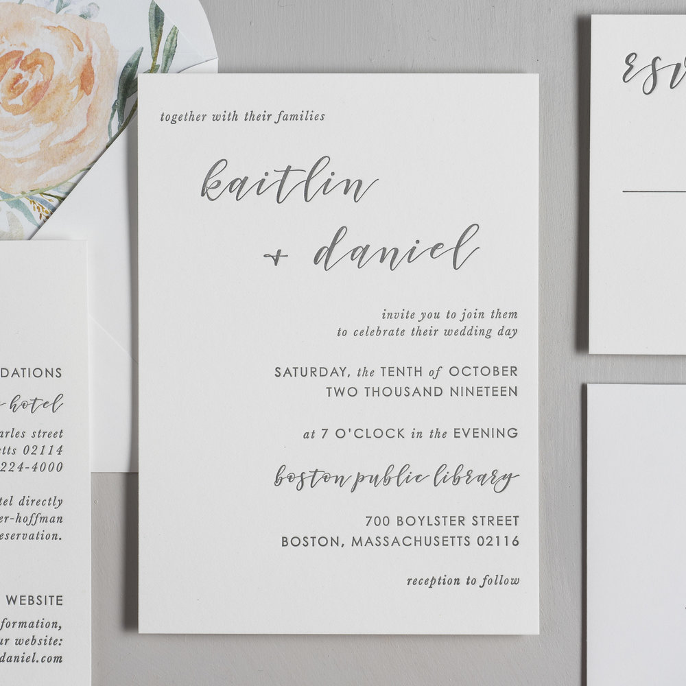 Simple Modern Script V2 Letterpress Wedding Invitations by Just Jurf-2.jpg