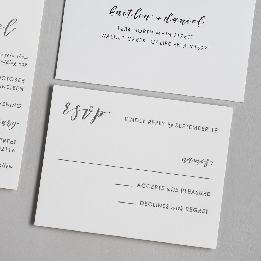 Simple Modern Script V2 Letterpress Wedding Invitations by Just Jurf-4.jpg