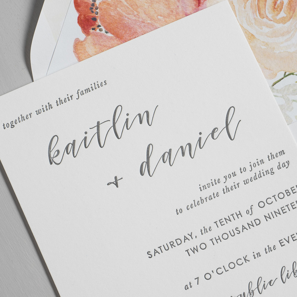 Simple Modern Script V2 Letterpress Wedding Invitations by Just Jurf-8b.jpg