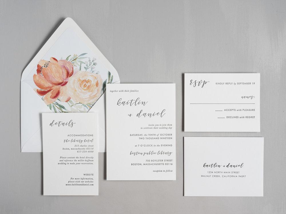 Simple Modern Script V2 Letterpress Wedding Invitation by Just Jurf