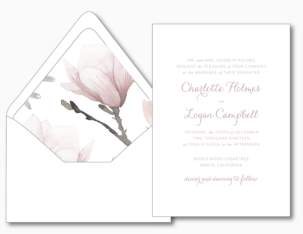 Pink Magnolia Floral Wedding Invitation Suite by Just Jurf