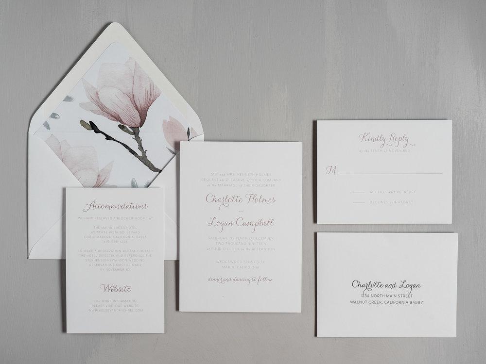 Pink Magnolia Floral Wedding Invitations by Just Jurf-1.jpg