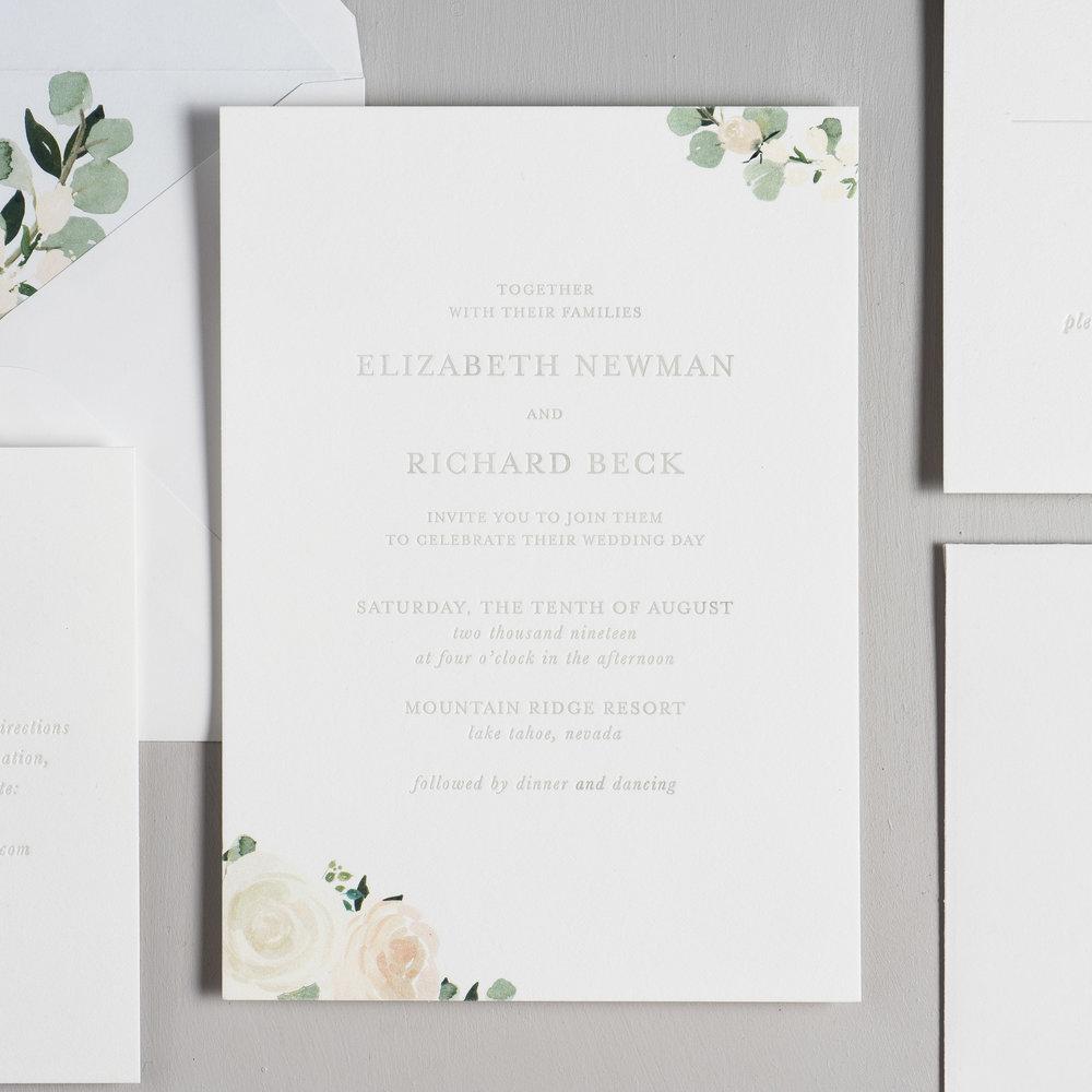 Elegant Blush Floral Letterpress