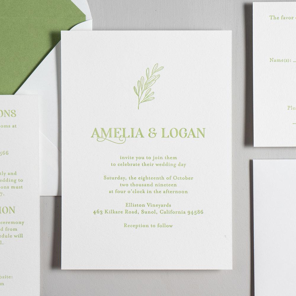 Olive Green Leaf Letterpress Wedding Invitations by Just Jurf-2.jpg