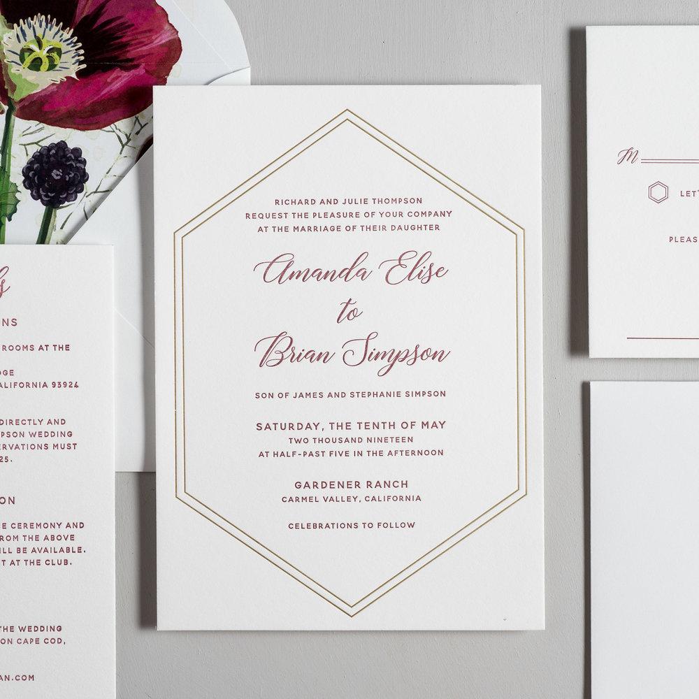 Elegant Burgundy Floral Letterpress Wedding Invitations by Just Jurf-2.jpg