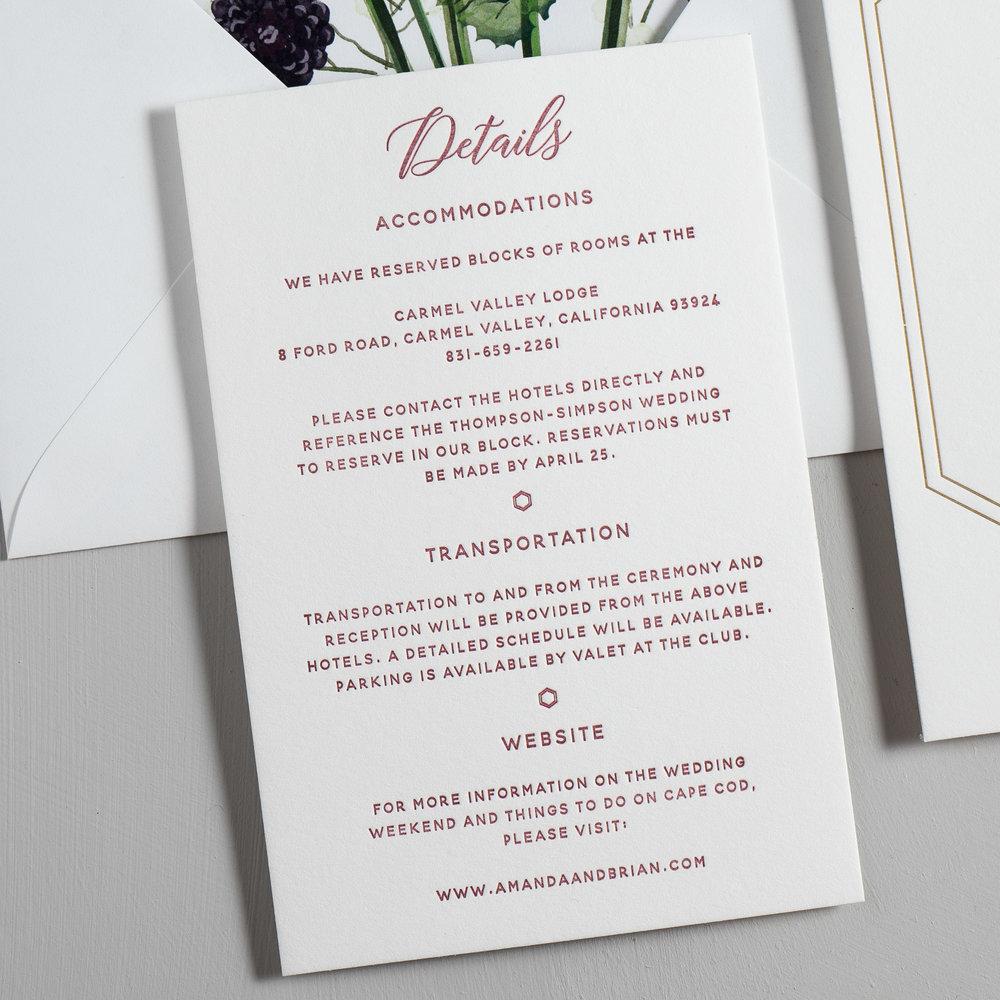 Elegant Burgundy Floral Letterpress Wedding Invitations by Just Jurf-3.jpg
