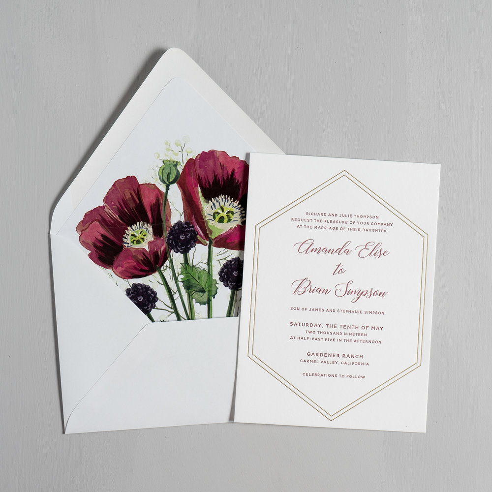Elegant Burgundy Floral Letterpress Wedding Invitations by Just Jurf-5.jpg