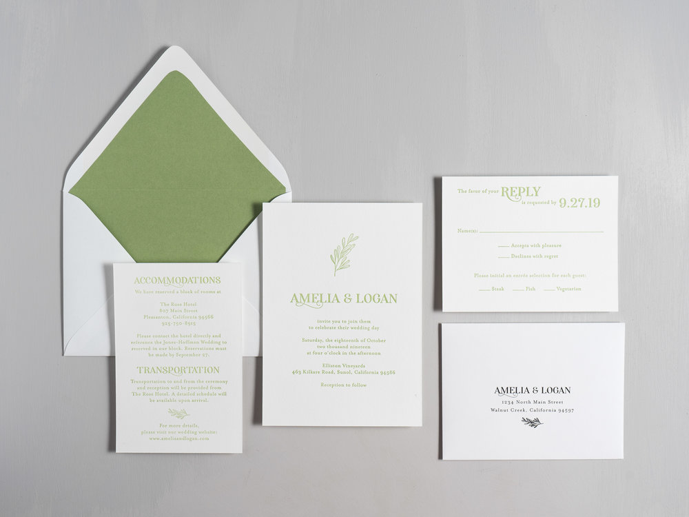 Olive Green Letterpress Wedding Invitation Suite by Just Jurf