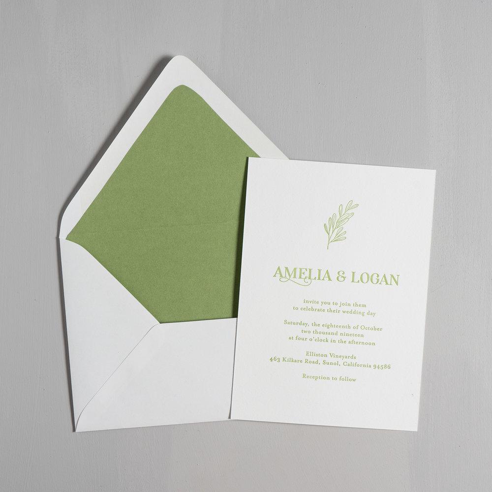 Olive Green Letterpress Wedding Invitation Suite by Just Jurf