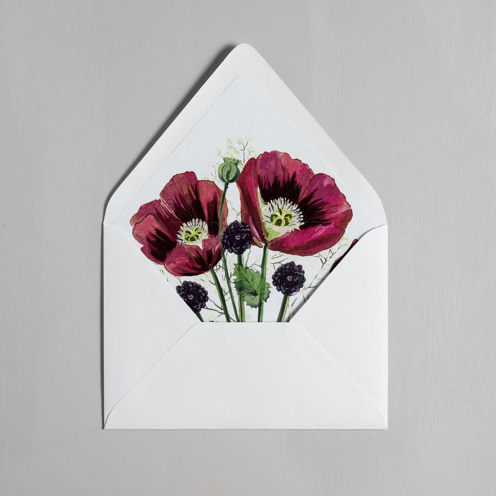 Elegant Burgundy Floral Letterpress Wedding Invitation