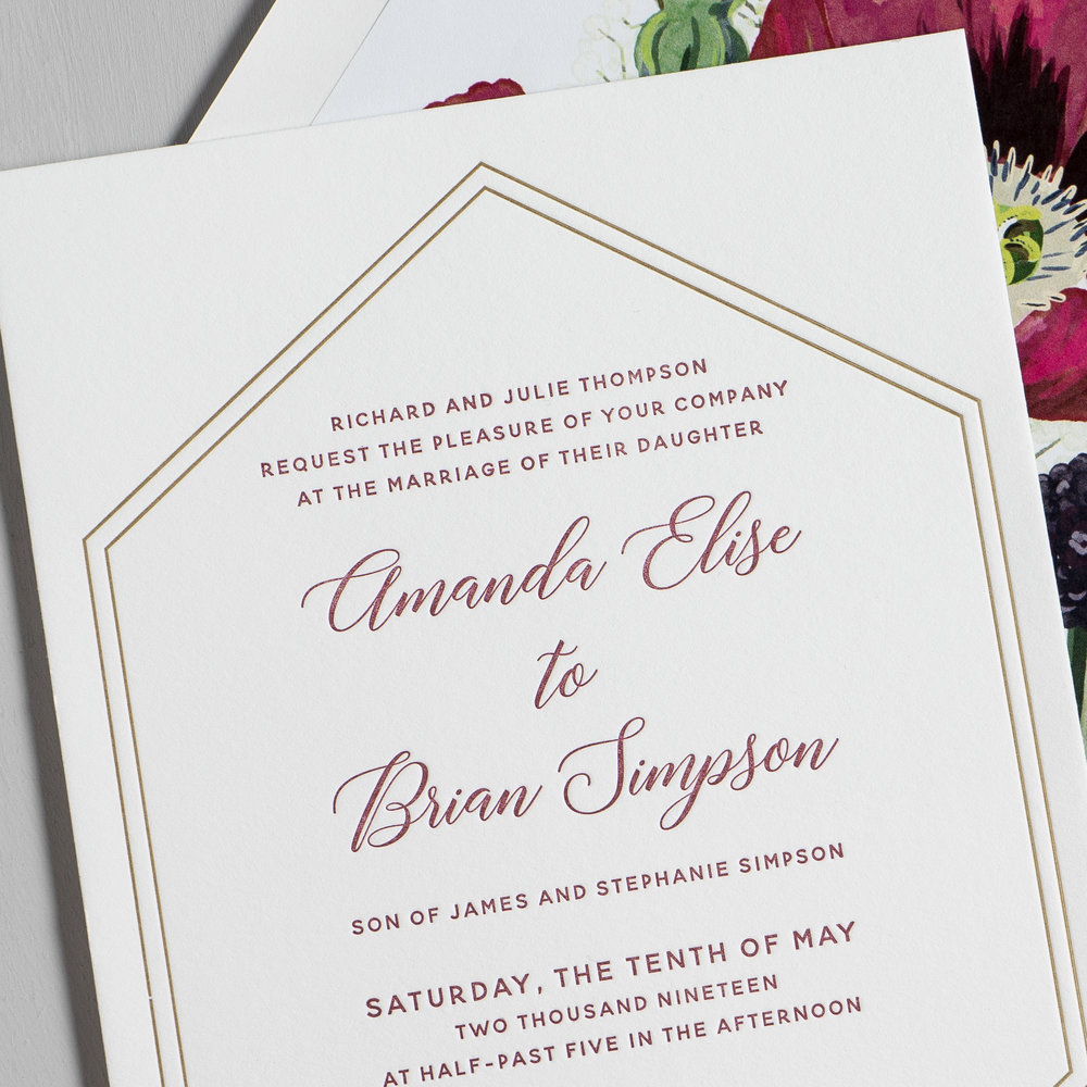 Elegant Burgundy Floral Letterpress Wedding Invitation