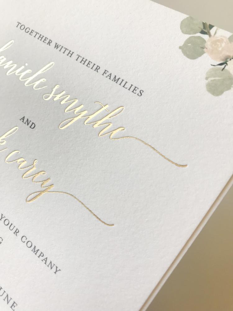 Elegant Blush Floral Wedding Invitation with Foil Details