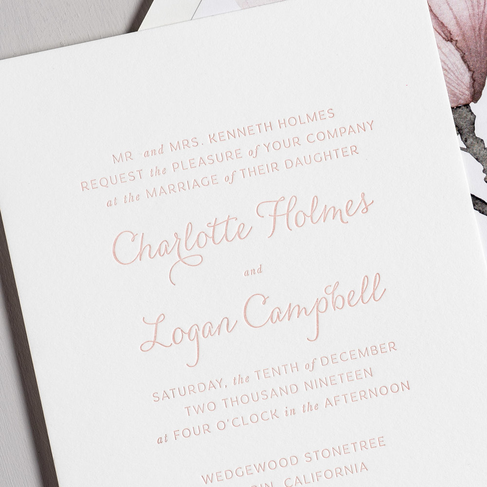 Pink Magnolia Floral Letterpress Wedding Invitation Suite by Just Jurf
