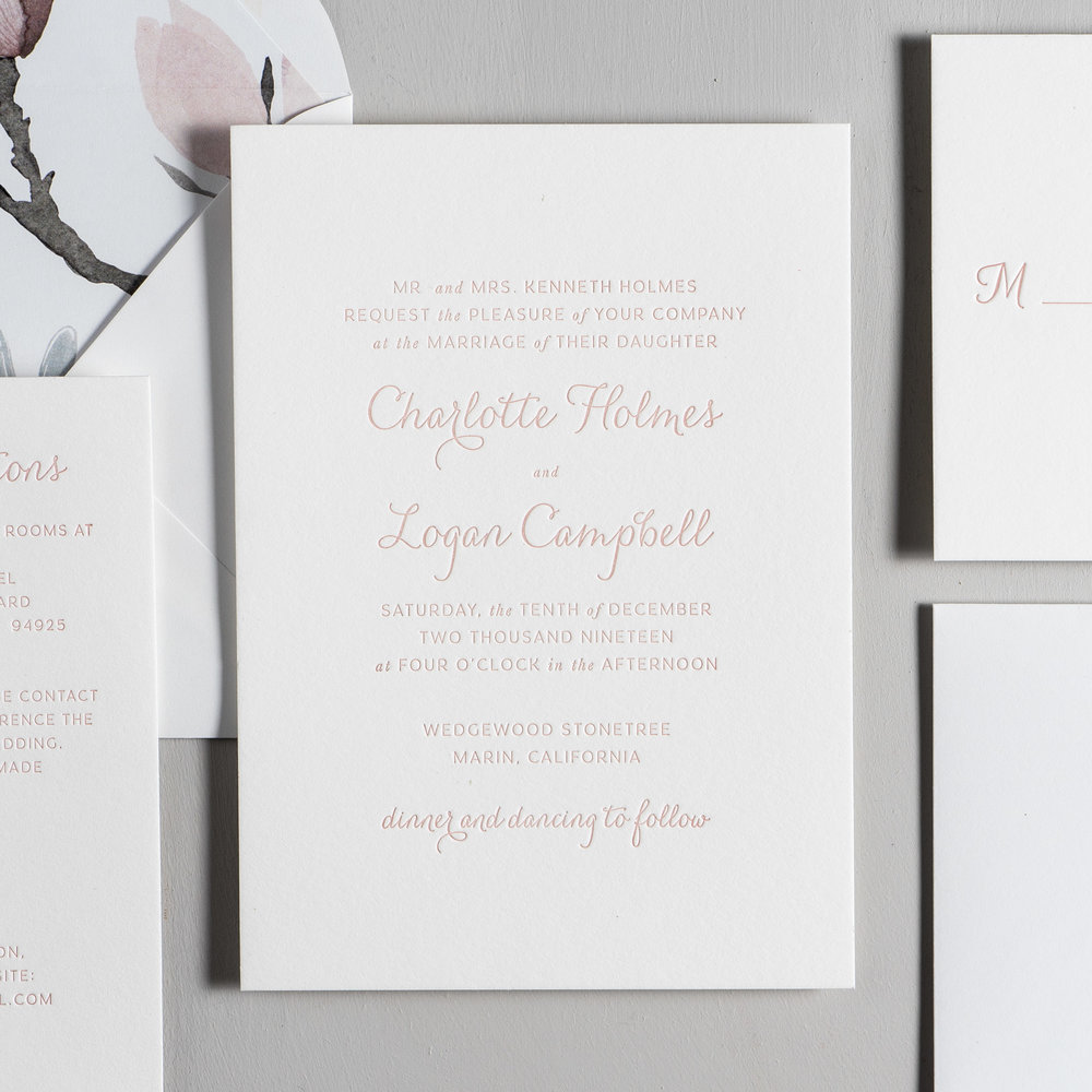 Pink Magnolia Floral Letterpress Wedding Invitations by Just Jurf-2.jpg