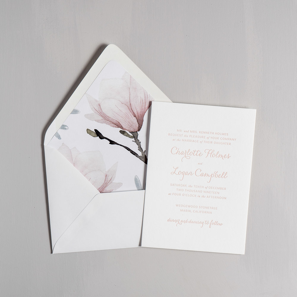 Pink Magnolia Floral Letterpress Wedding Invitations by Just Jurf-5.jpg