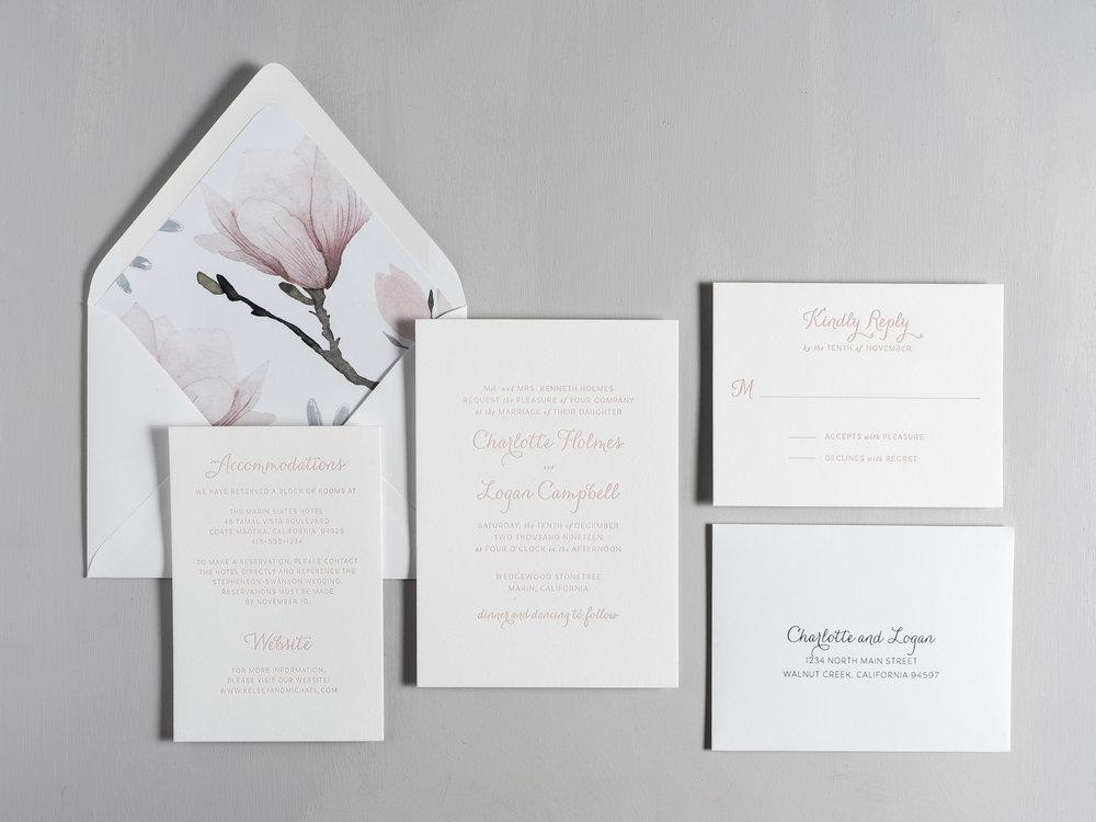 Pink Magnolia Floral Letterpress Wedding Invitation Suite by Just Jurf