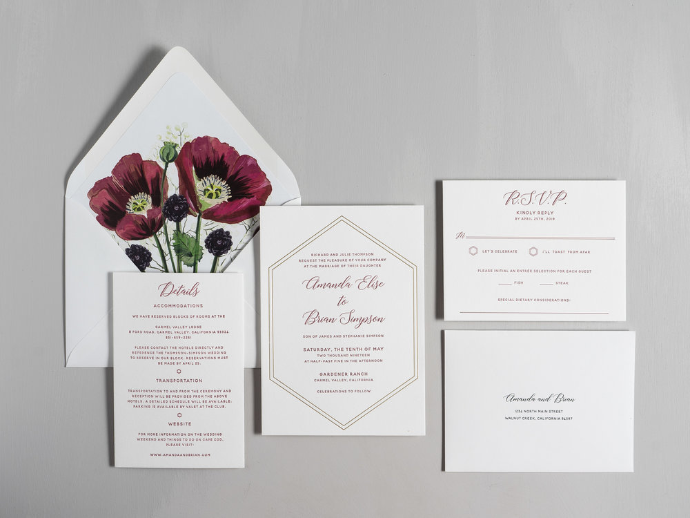 Elegant Burgundy Floral Letterpress Wedding Invitations by Just Jurf-1.jpg