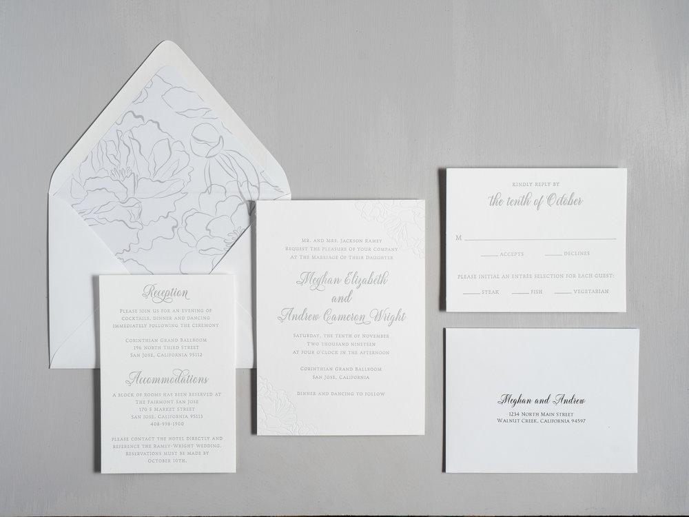 Simple Elegant Floral Letterpress Wedding Invitation Suite