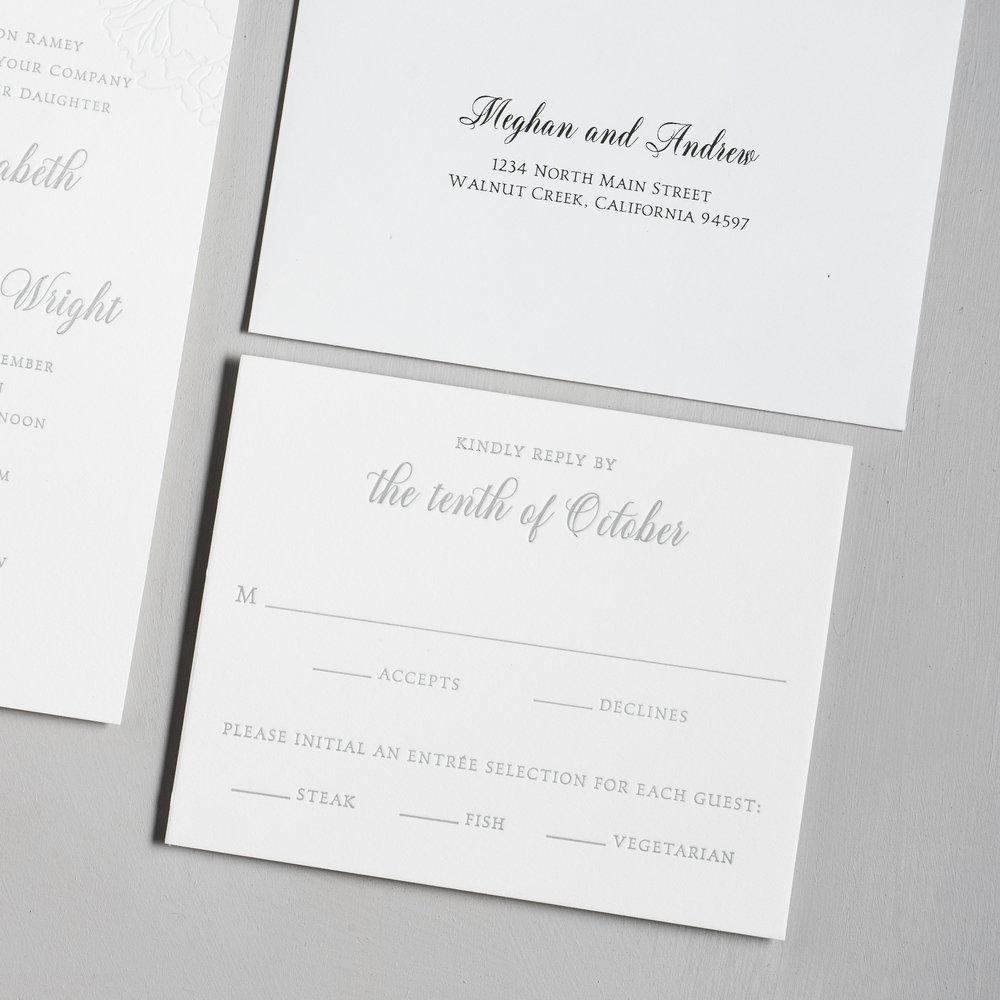 Simple Elegant Floral Letterpress Wedding Invitation Suite by Just Jurf